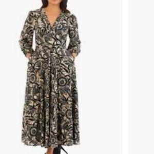 eShakti Floral Batik Print Fitted/Flared Dress 1X